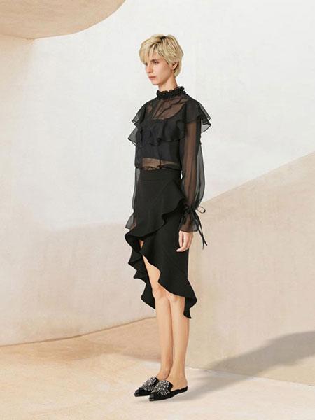 WEN&VI女装品牌2019春夏气质长裙复古裙不规则系带露背喇叭袖