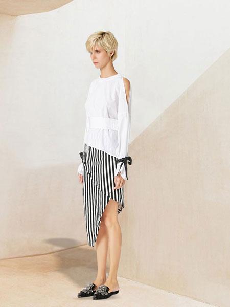 WEN&VI女装品牌2019春夏灯笼袖圆领纯棉衬衫泡泡袖白色长袖衬衫