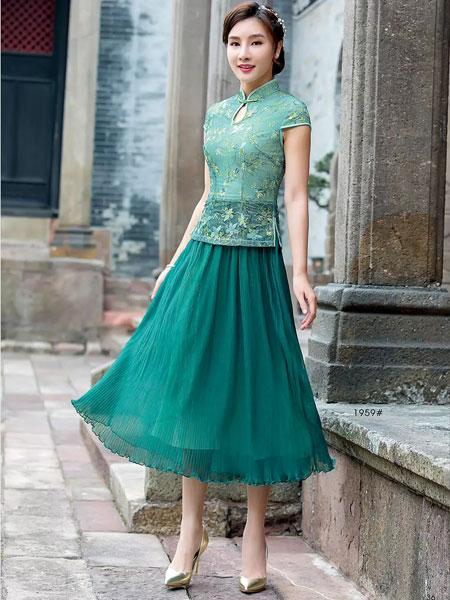 唐雅阁女装品牌2019春夏新款日常改良旗袍新式蕾丝假两件大摆长款绿色优雅连衣裙