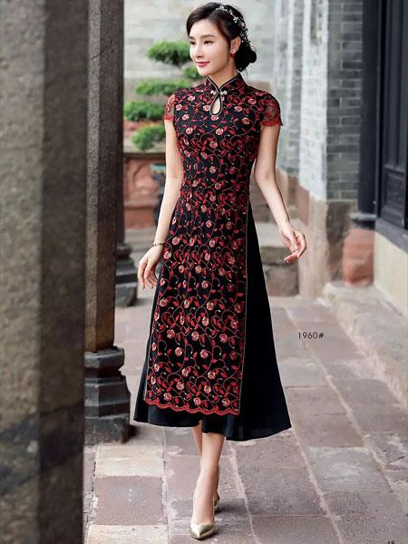 唐雅阁女装品牌2019春夏新款高贵旗袍礼服长款婆婆婚宴婚庆中式连衣裙