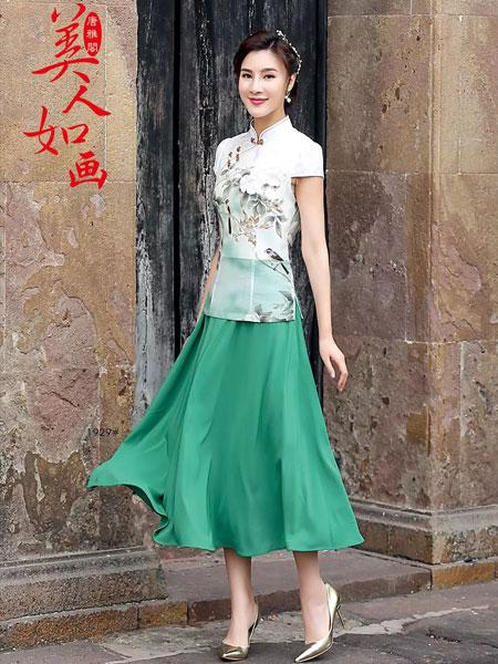 唐雅阁女装品牌2019春夏新款复古改良旗袍日常生活装中长款假两件套仿古连衣裙印花中国风