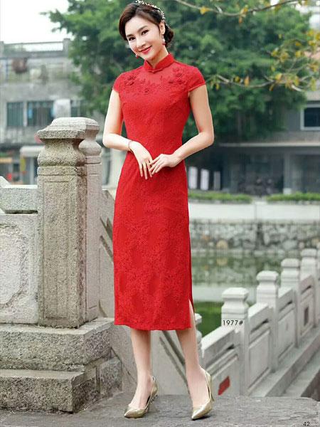 唐雅阁女装品牌2019春夏新款中长款蕾丝红色新娘甜美优雅改良日常旗袍式连衣裙