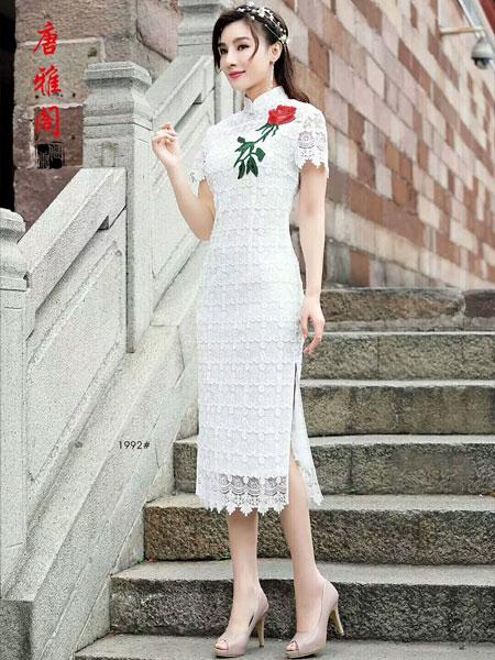 唐雅阁女装品牌2019春夏新款时尚修身显瘦改良中长款开叉性感刺绣蕾丝旗袍年轻款连衣裙