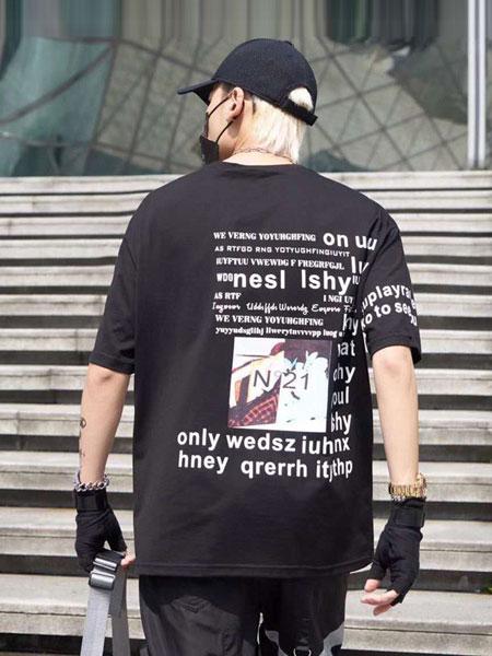 摩迪卡宾男装品牌2019春夏新款潮牌时尚休闲宽松百搭印花短袖T恤