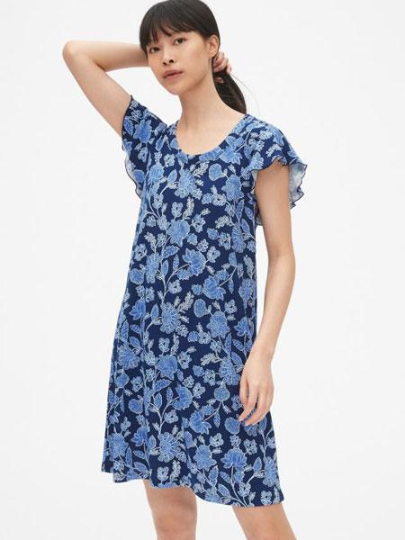 C.J Yao女装品牌2019春夏新款印花优雅V领修身显瘦中长款连衣裙