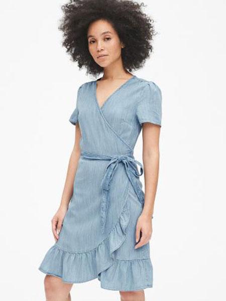 C.J Yao女装品牌2019春夏新款时尚收腰v领短袖裙子