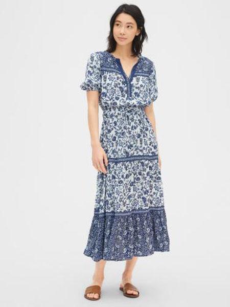 C.J Yao女装品牌2019春夏新款气质收腰印花短袖连衣裙
