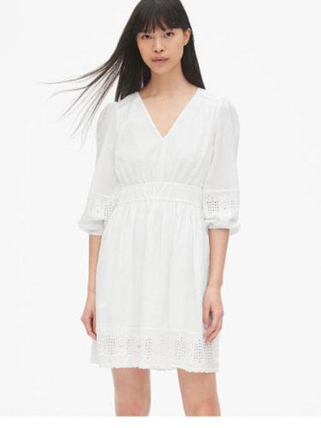 C.J Yao女装品牌2019春夏新款灯笼袖纯色气质收腰V领连衣裙