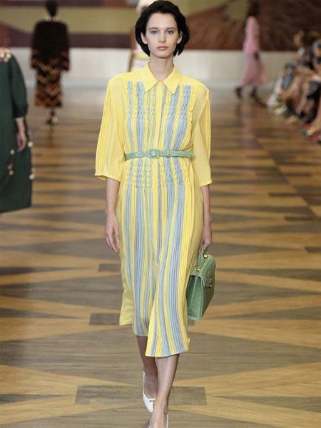 Ulyana Sergeenko女装品牌2019春夏新款长裙印花拼接条纹长袖连衣裙