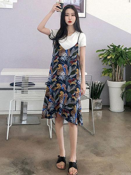 韩都衣舍女装品牌2019春夏新款学生小心机气质两件套时尚套装