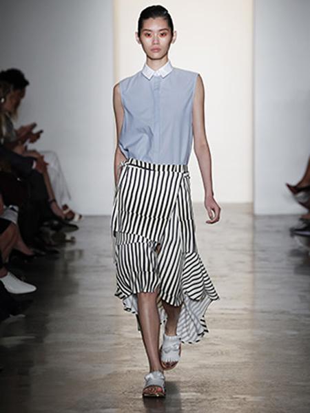 彼得桑女装品牌新款时尚荷叶边?#36824;?#21017;半身裙