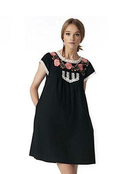 翠西・费斯Tracy Feith女装品牌新款时尚复古休闲宽松连衣裙