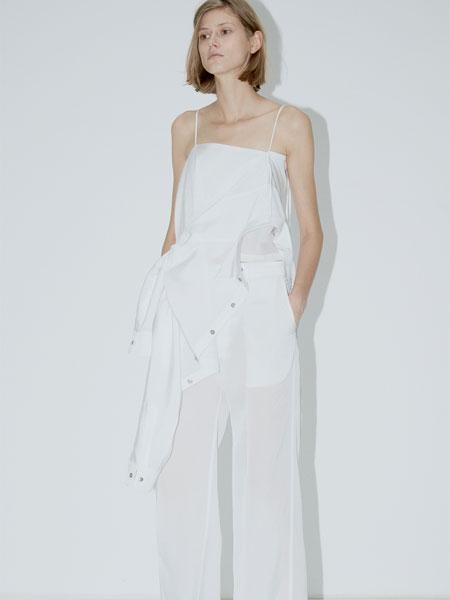 QIUHAO设计师品牌女装品牌2019春夏新款不规则纽结绕结设计平口吊带开叉阔腿裤套装