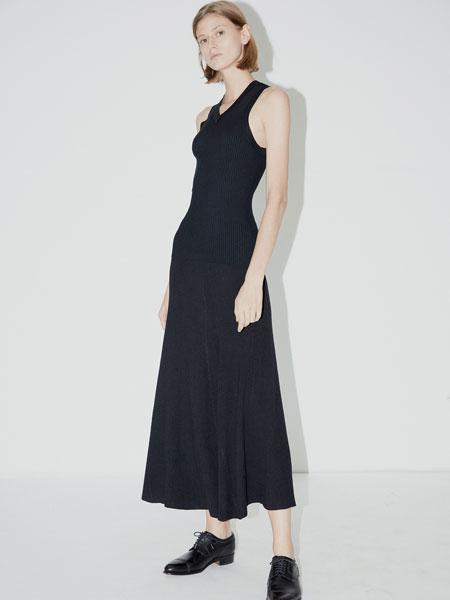 QIUHAO设计师品牌女装品牌2019春夏新款时尚休闲黑色V领针织背心