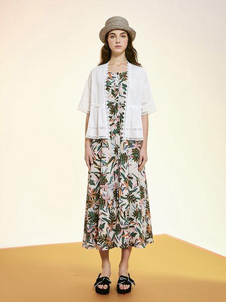 序言女装品牌2019春夏新款高腰雪纺气质压褶印花半裙半身裙