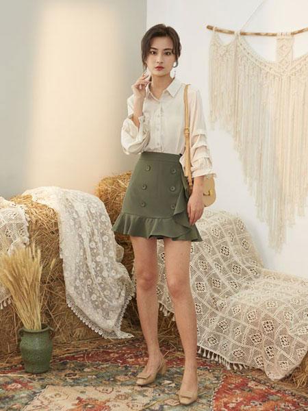 宝洛莎女装品牌2019春夏简约百搭翻领灯笼袖时尚长袖气质名媛风衬衣