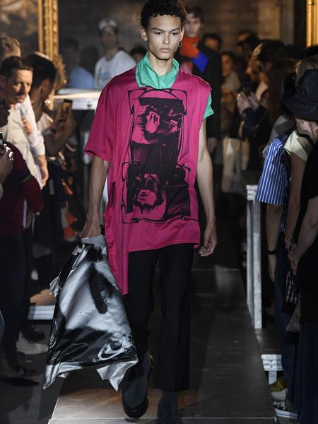 拉夫·西蒙男装品牌2019春夏新款潮流时尚休闲宽松不规则T恤上衣