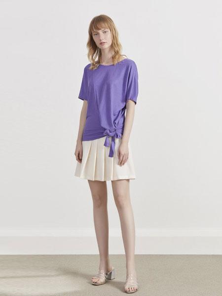 你即永恒女装品牌2019春夏新款短袖紧身t恤修身绑带针织上衣