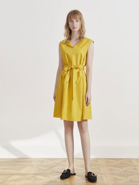你即永恒女装品牌2019春夏短袖西装领连衣裙系带收腰百褶裙通勤显瘦