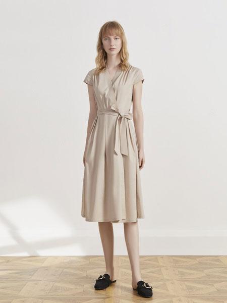 你即永恒女装品牌2019春夏时尚气质无袖V领纯色收腰中长款棉麻连衣裙