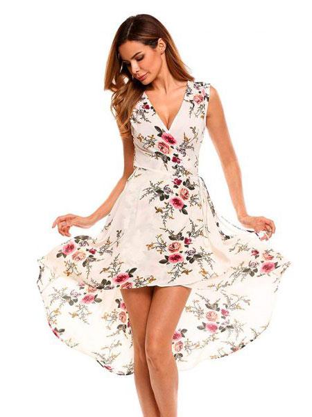 Clover Canyon女装品牌2019春夏新款欧美短裙性感街头连衣裙v领印花度假休闲裙