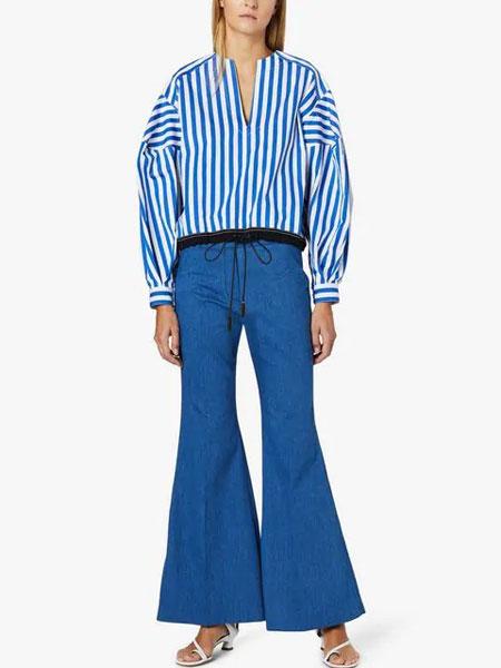 Derek Lam德里克・林女装品牌2019春夏新款蓝白条纹蝙蝠袖长袖衬衫韩版简约上衣