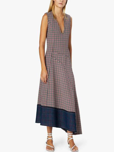 Derek Lam德里克・林女装品牌2019春夏新款低领薄纱格纹下摆不对称连衣裙