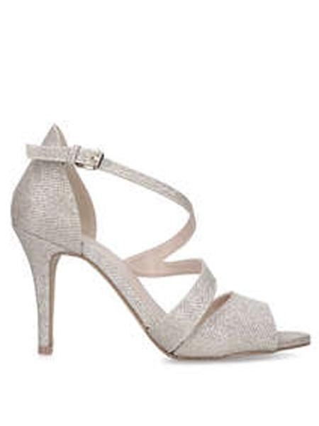 Kurt Geiger鞋品牌2019春夏新款简约露趾高跟鞋细跟百搭系带女鞋小清新潮