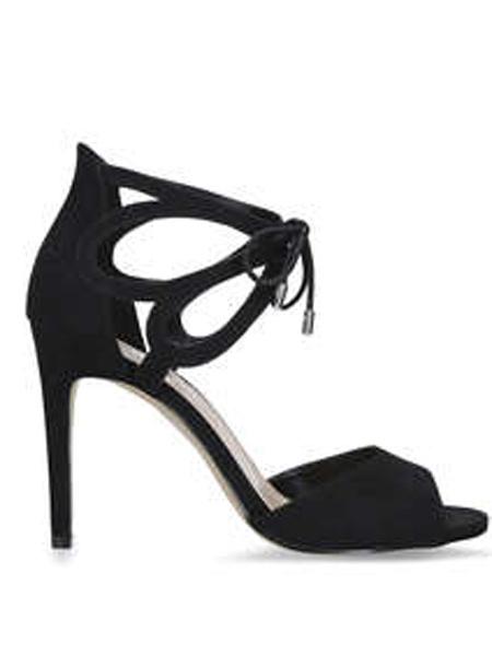 Kurt Geiger鞋品牌2019春夏露趾高跟鞋细跟百搭系带女鞋小清新潮