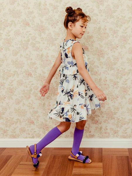 卡拉美童装品牌2019春夏新款中大童洋气碎花短袖连衣裙荷叶边女孩潮