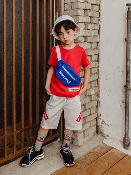 卡拉美童装品牌2019春夏新款正品 圆领纯棉字母百搭短袖T恤 红色