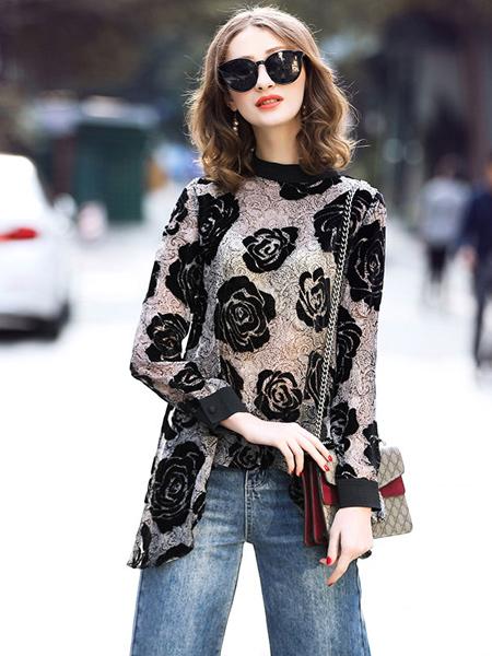 缇蜜丝女装品牌新款气质植绒印花不规则雪纺打底上衣