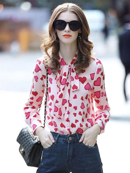 缇蜜丝女装品牌新款蝴蝶结飘带领桃心印花真丝衬衫上衣