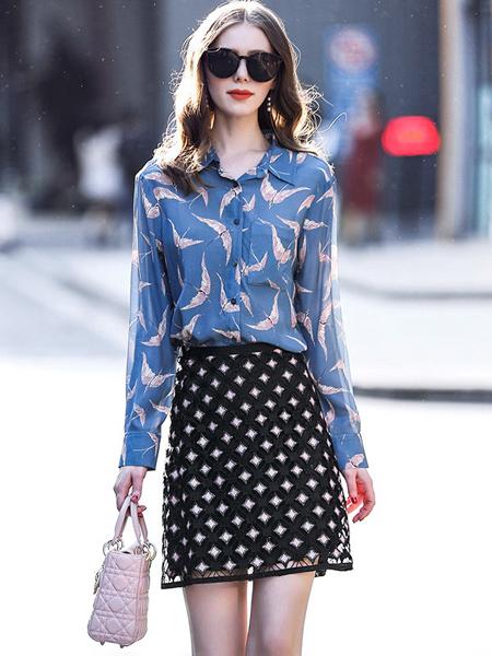 缇蜜丝女装品牌新款时尚优雅柔美修身显瘦上衣印花真丝衬衫