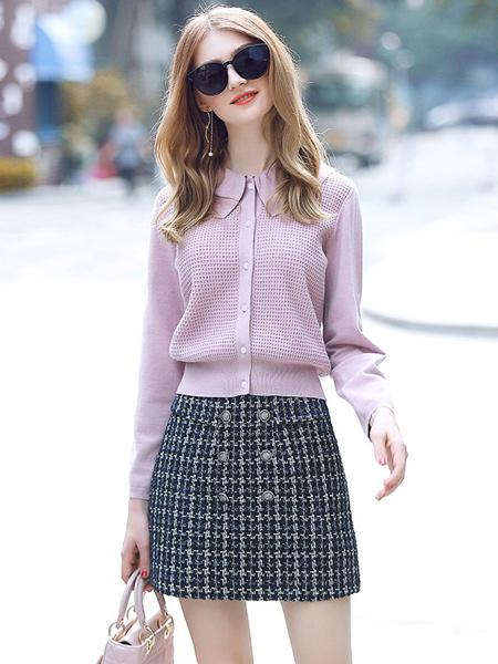 缇蜜丝女装品牌新款韩版甜美线衣外套百搭小清新针织衫