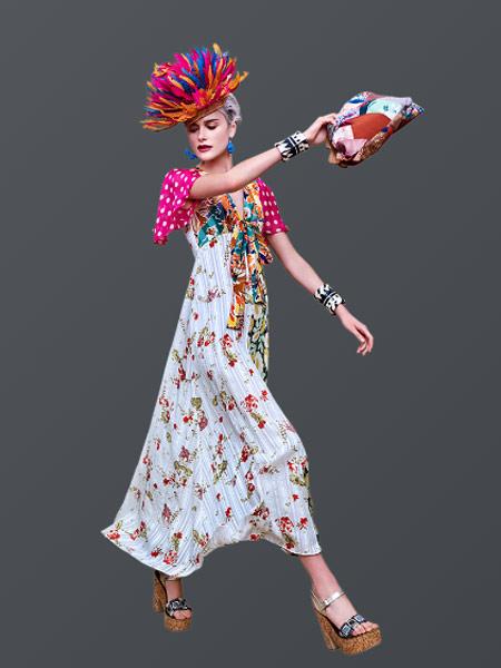 Duro Olowu杜罗・奥罗伍女装品牌2019春夏新款V领系带蝴蝶结拼接花卉印花飘逸度假长裙连衣裙