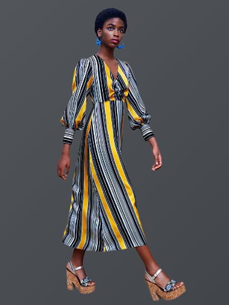 Duro Olowu杜罗·奥罗伍女装品牌2019春夏新款时尚复古显瘦V领印花雪纺连衣裙