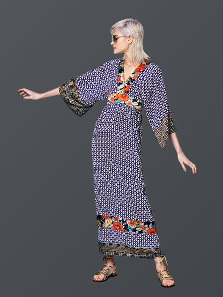 Benjamin Cho本杰明·曹女装品牌新款时尚收腰显瘦复古v领连衣裙