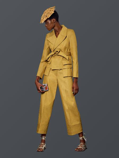 Benjamin Cho本杰明·曹女装品牌新款韩版黄色职业装气质小西服阔腿裤两件套潮