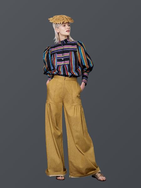 Benjamin Cho本杰明·曹女装品牌新款宽松显瘦棉麻直筒裤长裤