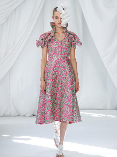 Ermanno Scervino艾尔玛诺・谢尔维诺女装品牌2019春夏新款韩版气质修身短袖印花连衣裙