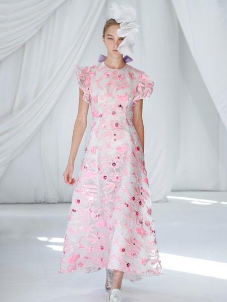 Ermanno Scervino艾尔玛诺・谢尔维诺女装品牌2019春夏新款气质雪纺连衣裙 收腰长款印花显瘦长裙仙女裙短袖