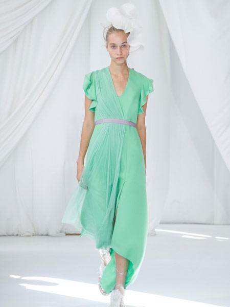 Ermanno Scervino艾尔玛诺・谢尔维诺女装品牌2019春夏新款时尚V领褶皱飘逸连衣裙