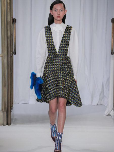 Emma Cook艾玛·库克女装品牌新款木耳边蕾丝花边针织衫高腰显瘦连衣裙两件套装