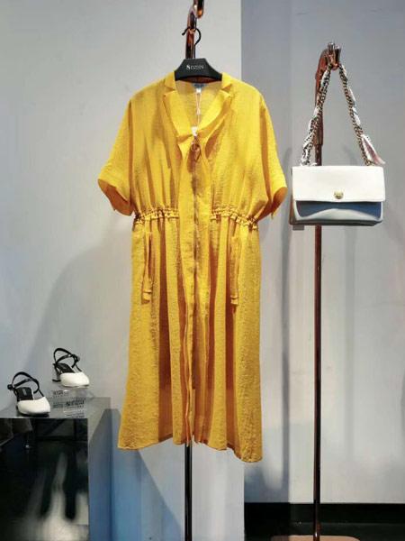8DZIEN女装品牌2019春夏新款高腰松紧修身显瘦纯色V字领中长款连衣裙