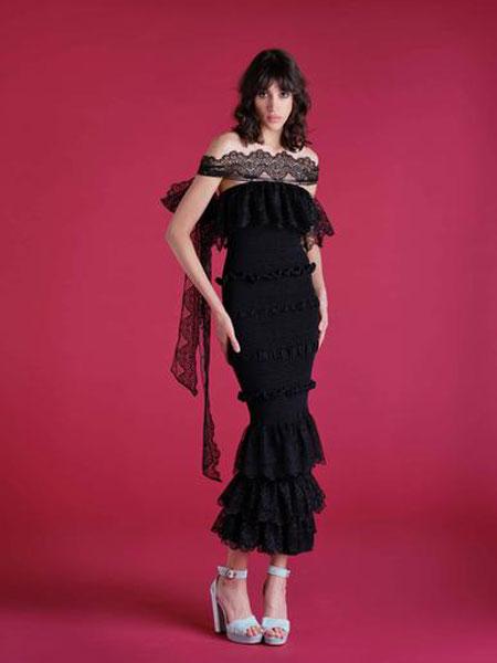 Emilio de la Morena埃米利奥·德拉莫雷纳女装品牌2019春夏新款性感蕾丝收腰显瘦长款礼服裙