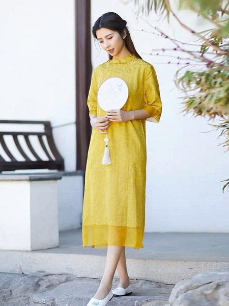 起念女装品牌2019春夏新款鹅黄色裙子唐装旗袍改良汉服女茶服禅意文艺
