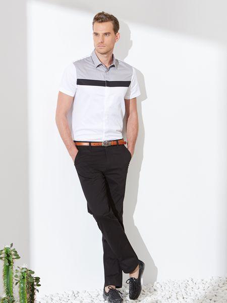 富绅男装品牌2019春夏新品纯棉商务男士长袖衬衫白衬衣
