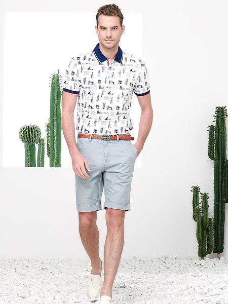 富绅男装品牌2019春夏新款带领短袖T恤男翻领半袖