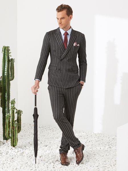 富绅男装品牌2019春夏韩版修身黑色双排扣西装双开叉